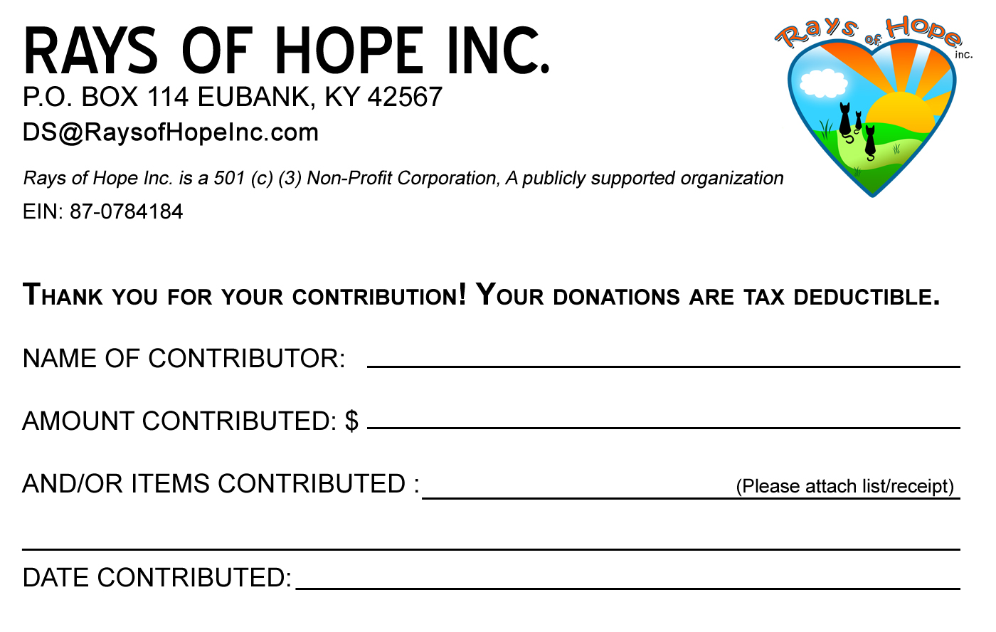 Donate – Rays Of Hope Inc. Cat Shelter